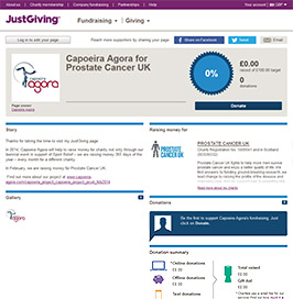 Capoeira Agora JustGiving page screenshot